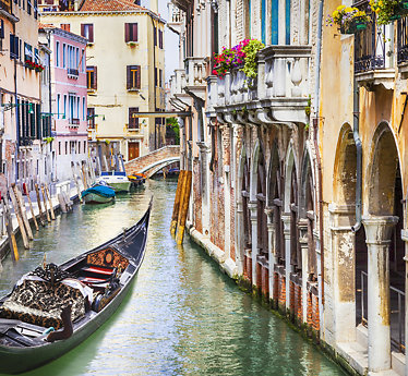 Gondola in colorful Venice, Italy